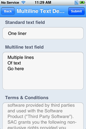 Multiline text fields on iOS
