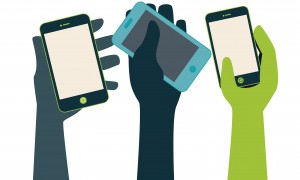 BYOD (Bring Your Own Device) - hands raising mobile devices