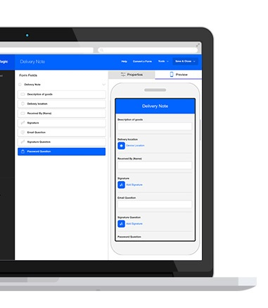 Device Magic mobile form builder on a laptop computer