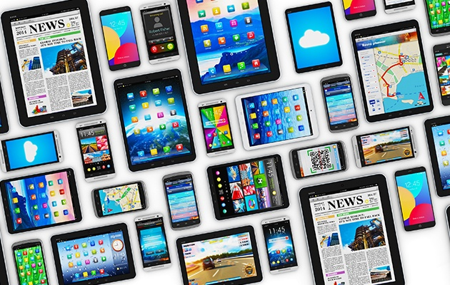 Collection of tablet and smartphone devices